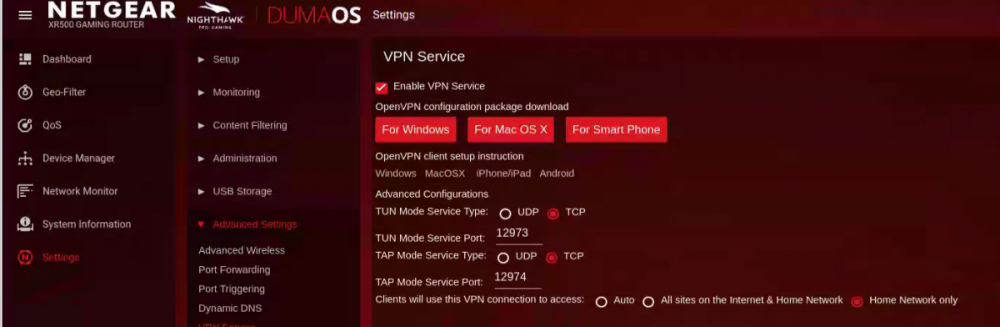 XR500 VPN Service kills NAT'd services when enabled - DumaOS on